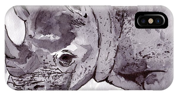 iPhone Case - Rhino by Michael Rados