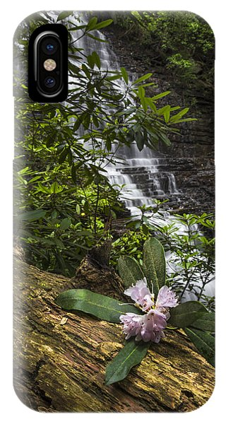 Chilhowee iPhone Case - Rhododendron At The Falls by Debra and Dave Vanderlaan