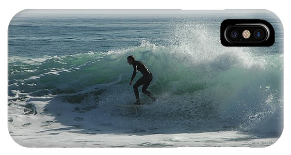 Santa Cruz Surfing iPhone Case - Riding It In by Donna Blackhall