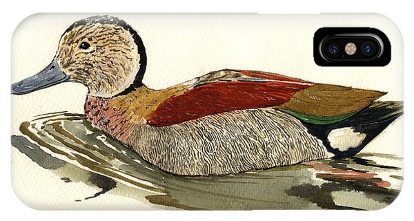 Duck iPhone Case - Ringed Teal by Juan  Bosco