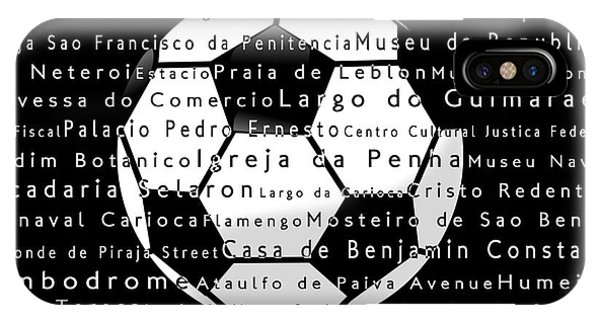 Sport iPhone Case - Rio De Janeiro In Words Black Soccer by Sabine Jacobs