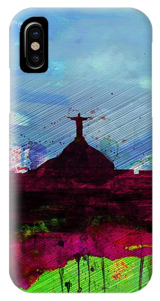 Brazil iPhone X Case - Rio Watercolor Skyline by Naxart Studio