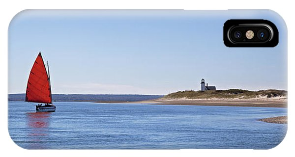 Ripple Catboat With Red Sail And Lighthouse IPhone Case