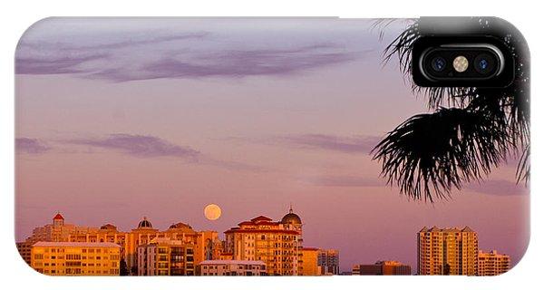 Rising Full Moon Sunset Sarasota Cityscape IPhone Case