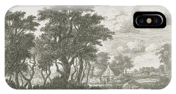 River Landscape With An Angler, Hermanus Jan Hendrik Van Phone Case by Hermanus Jan Hendrik Van Rijkelijkhuysen And Meindert Hobbema