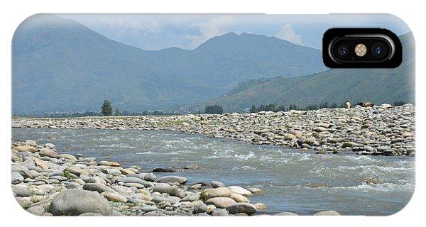 Riverbank Water Rocks Mountains And A Horseman Swat Valley Pakistan IPhone Case