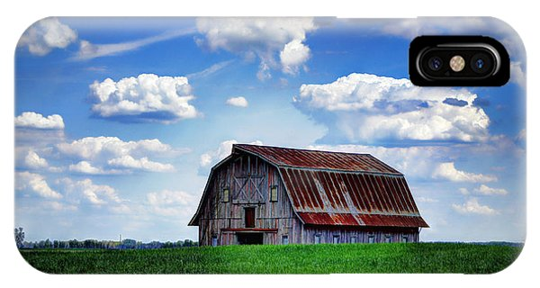 Cricket iPhone Case - Riverbottom Barn Against The Sky by Cricket Hackmann