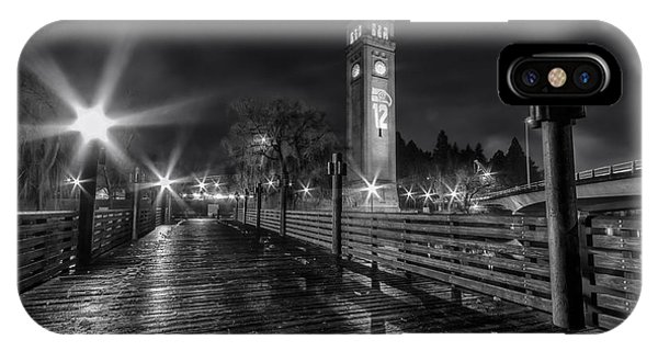 Riverfront Park Clocktower Seahawks Black And White IPhone Case