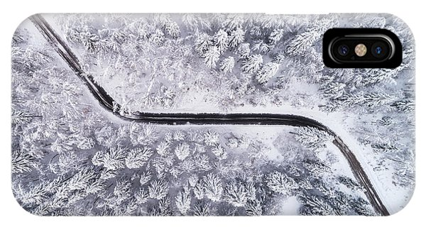 Aerial iPhone Case - Road Through The Winter Forest by Ales Krivec