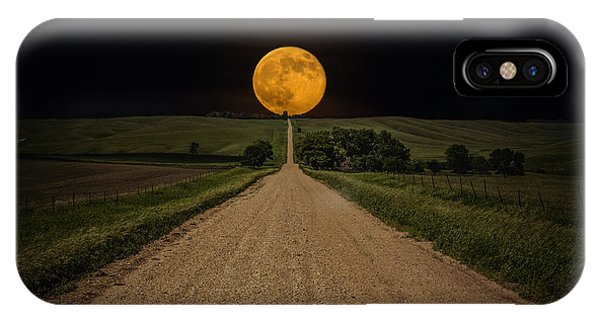 Full Moon iPhone Case - Road To Nowhere - Supermoon by Aaron J Groen