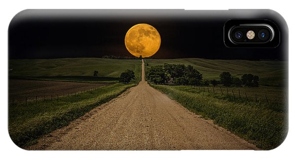 Moon iPhone Case - Road To Nowhere - Supermoon by Aaron J Groen