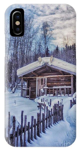 Cabin iPhone Case - Robert Service Cabin Winter Idyll by Priska Wettstein