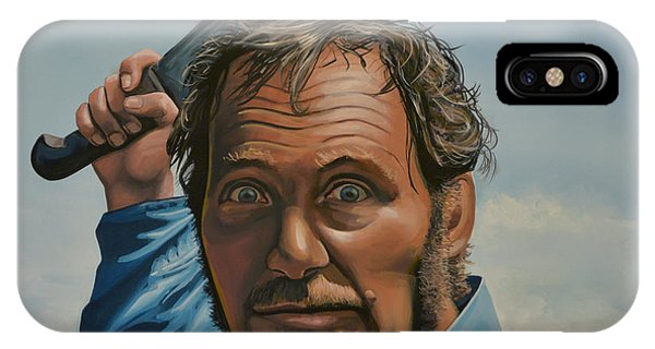 Realism iPhone Case - Robert Shaw In Jaws by Paul Meijering