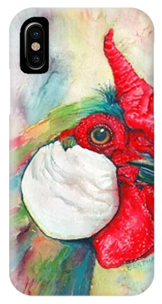 IPhone Case featuring the painting Roberto Rooster Radiates by Karen bertha Calderon