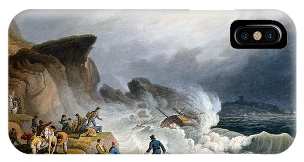 Shipwreck iPhone Case - Robin Hoods Bay, Yorkshire, 1825 by Francis Nicholson