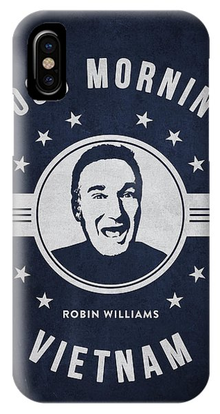 Robin Williams Comedian iPhone Case - Robin Williams - Navy Blue by Aged Pixel