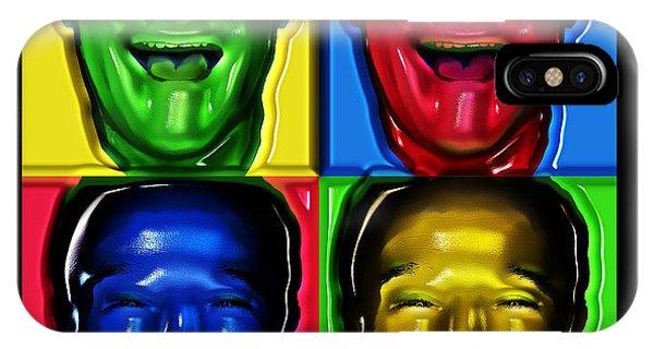 Robin Williams Comedian iPhone Case - Robin Williams Primary Colors Six by Nicholas Romano