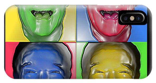 Robin Williams Comedian iPhone Case - Robin Williams Primary Colors Three Plastique by Nicholas Romano
