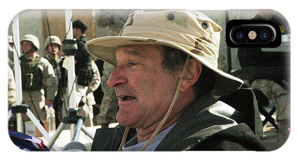 Robin Williams Comedian iPhone Case - Robin Williams Uso Iraq 2004 by Annette Redman