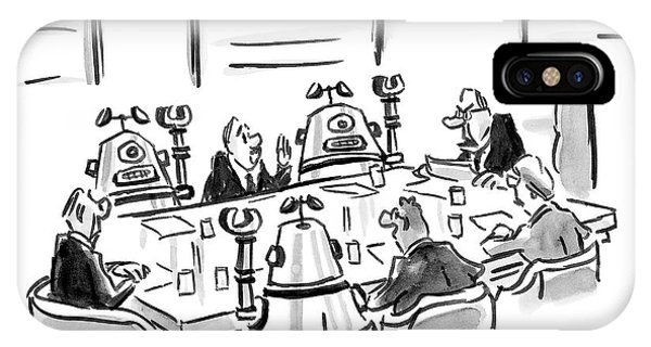 Robots And Businessmen Sitting Around A Board IPhone Case