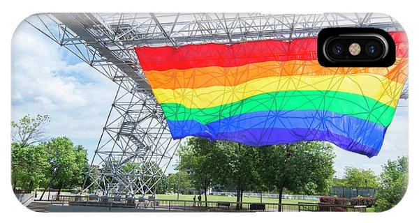 Gay Pride Flag iPhone Case - Rochester, New York, Gay Rainbow Flag by Bill Bachmann
