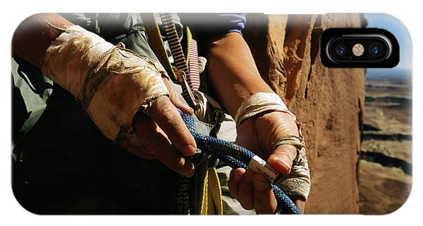 Rock Climber Becky Halls Wrapped Hands Phone Case by Bill Hatcher
