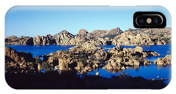 Rock Formations At Lake, Granite Dells IPhone Case