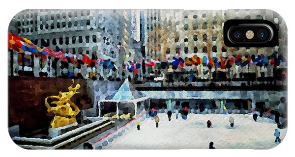 Rockefeller Center Ice Skaters Nyc IPhone Case