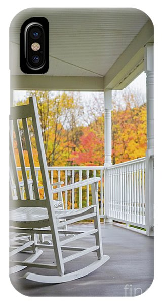 Porches iPhone Case - Rocking Chairs On A Porch In Autumn by Diane Diederich