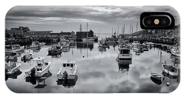New England Barn iPhone Case - Rockport Harbor View - Bw by Stephen Stookey