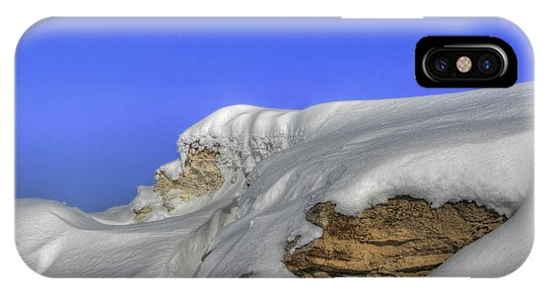 Rocks Covered With Snow Against Clear Blue Sky IPhone Case