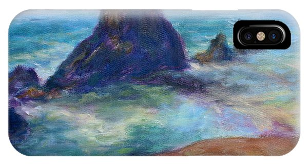 Rocks Heading North - Scenic Landscape Seascape Painting IPhone Case