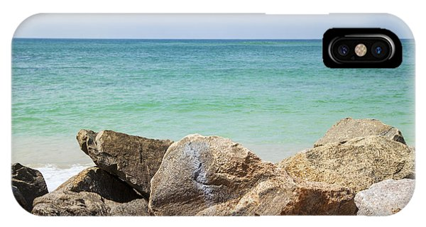 Tropes iPhone Case - rocks in front of the Indian Ocean by Gina Koch