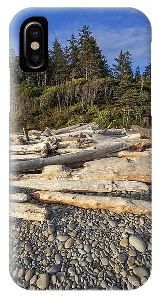 IPhone Case featuring the photograph Rocky Beach And Driftwood by Bryan Mullennix