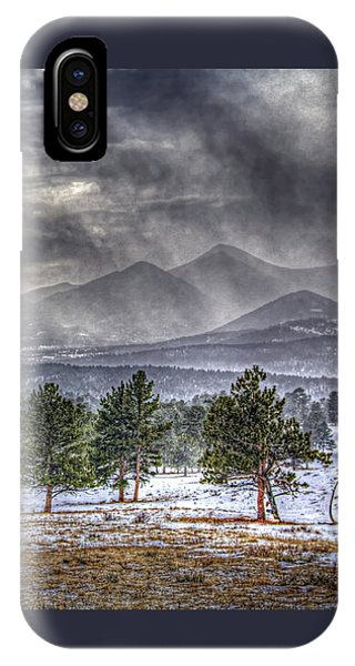 Rocky Mountain Snow Storm Estes Park Colorado IPhone Case