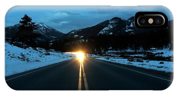 Snowy Road iPhone Case - Rocky Mountains by Michael Szoenyi