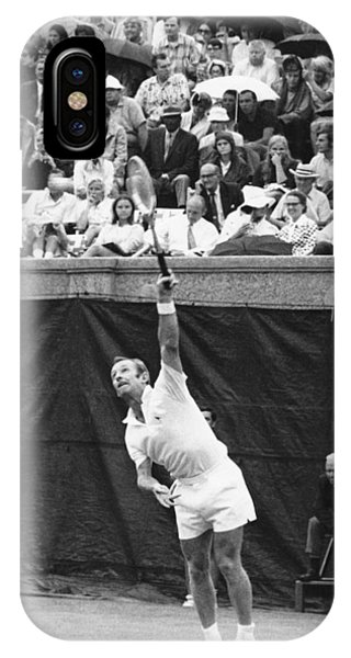 Racquet iPhone Case - Rod Laver Tennis Serve by Underwood Archives