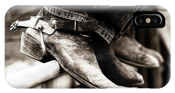 Rodeo Boots And Spurs In Black And White IPhone Case
