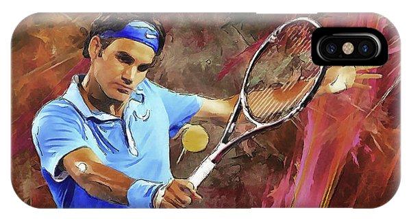 Arte iPhone Case - Roger Federer Backhand Art by RochVanh