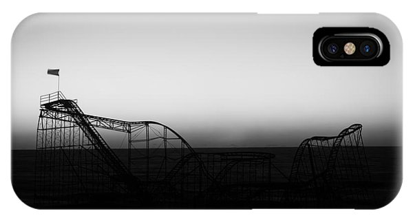 Nikon iPhone Case - Roller Coaster Silhouette Black And White by Michael Ver Sprill