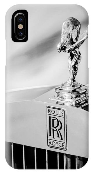 IPhone Case featuring the photograph Rolls-royce Hood Ornament -782bw by Jill Reger