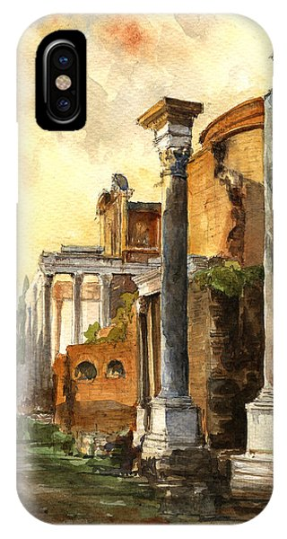 Temple iPhone Case - Roman Forum by Juan  Bosco
