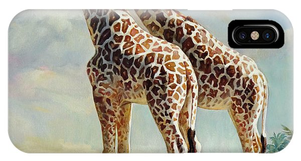 Romance In Africa - Love Among Giraffes IPhone Case