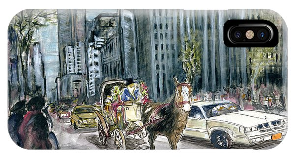 New York 5th Avenue Ride - Fine Art Painting IPhone Case