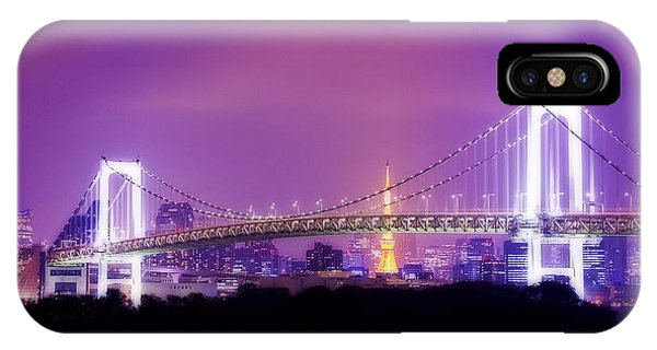 Odaiba iPhone Case - Romantic Tokyo Tower And Rainbow Bridge At Night by Beverly Claire Kaiya