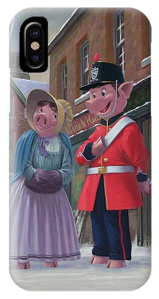 Romantic Victorian Pigs In Snowy Street IPhone Case