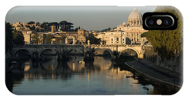 Rome - Iconic View Of Saint Peter's Basilica Reflecting In Tiber River IPhone Case