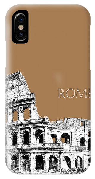 Ancient Rome iPhone Case - Rome Skyline The Coliseum - Brown by DB Artist