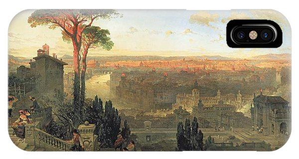 Umbrella Pine iPhone Case - Rome, Sunset From The Convent Of San Onofrio On Mount Janiculum, 1856 Oil On Canvas by David Roberts