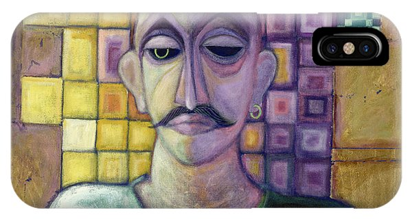 Moustache iPhone Case - Romeo, 1970 Acrylic & Metal Leaf On Canvas by Laila Shawa